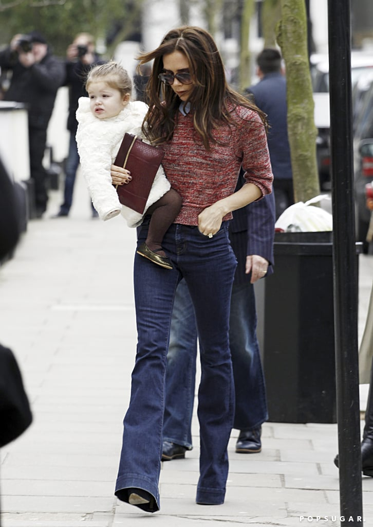 Victoria Beckham and Harper stepped out in Notting Hill.