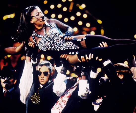 Paula Abdul hitched a ride on the hands of her dancers during the 1991 show.