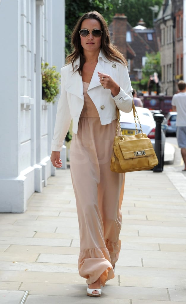 Pippa wore white heels and a white jacket.