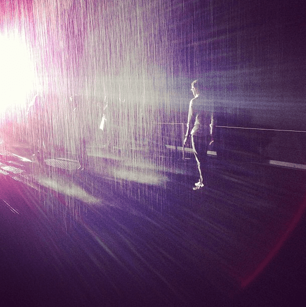 There's no better place to try out Hunter's latest collection of rain boots than in the rain room.