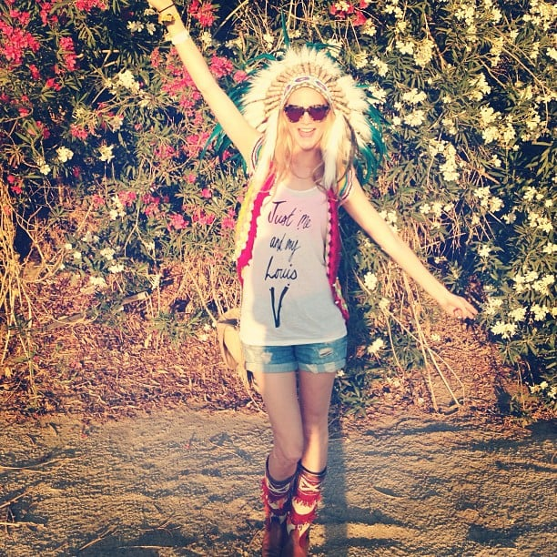 Poppy Delevingne worked a Native American-inspired look while partying at Coachella. Source: Instagram user poppydelevingne