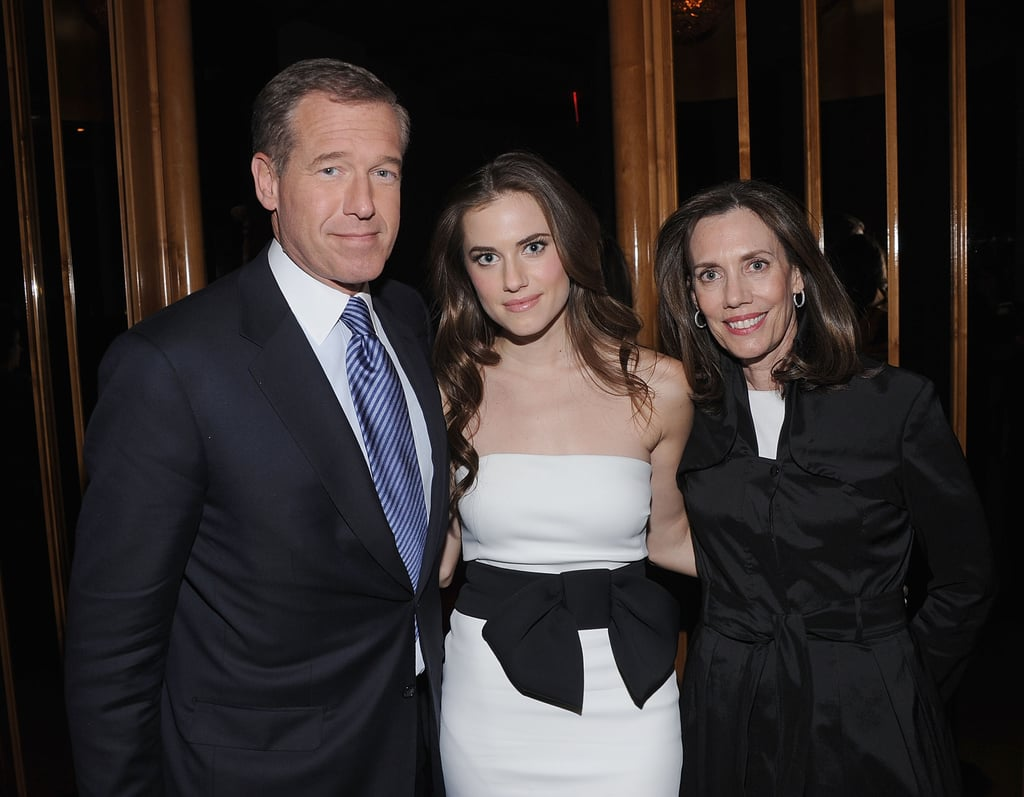 Allison Williams, who is one of the stars in HBO's new series Girls, was joined by her parents Brian Williams and Jane Stoddard Williams at the afterparty for the premiere in NYC.