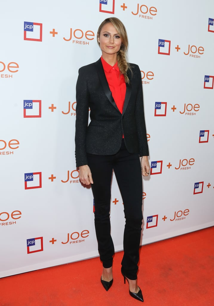 She may have ditched the cocktail dress, but Stacy Keibler showed off a sharp take on menswear that we loved at JCPenney's Joe Fresh launch party.