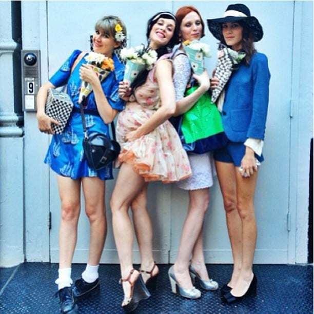 Alexa Chung posed with pals Karen Elson, Tennessee Thomas, and Sarah Sophie Flicker at an Orla Kiely event in NYC. Source: Instagram user chungalexa