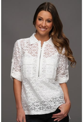 BCBGMAXAZRIA - Noemie Blouse with Lace (White) - Apparel