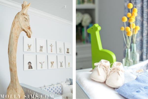 """Animals, in particular giraffes, are a common theme in the nursery. Molly's interior decorator said, """"My friend Sharon Montrose, a well known photographer, did the animal prints and I made the mobile which I was just thinking I should make more of for the shop.""""  Source: MollySims.com"""