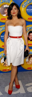 Salma Hayek Wears Yves Saint Laurent White Dress and Red Pumps at Grown Ups Premiere
