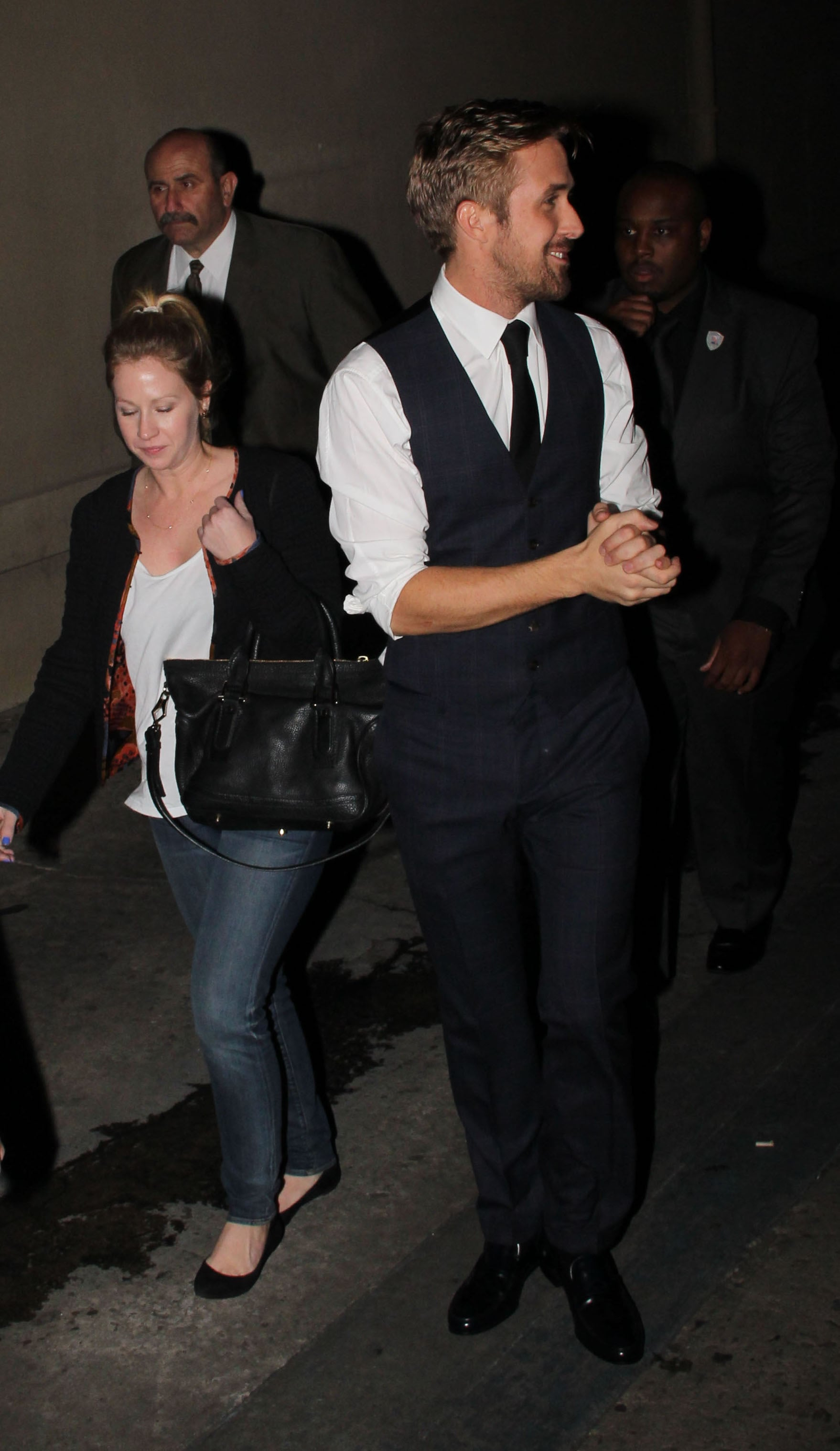 Ryan Gosling had a smile on his face as he departed after his appearance on Jimmy Kimmel Live!