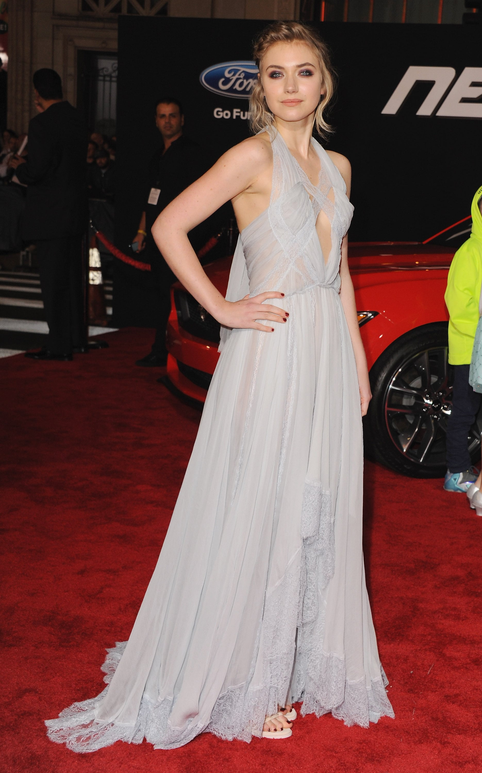 At the Need For Speed premiere, Imogen stunned in a pale chiffon gown by Nina Ricci.