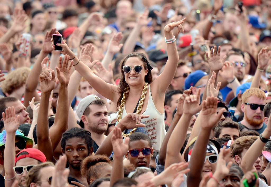 The crowd had their hands up during the festival.