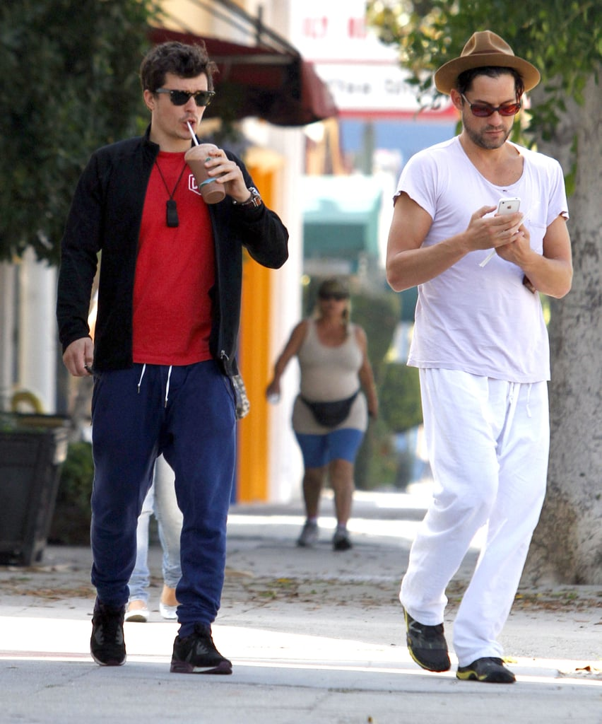Orlando Bloom and a friend picked up juices in LA.