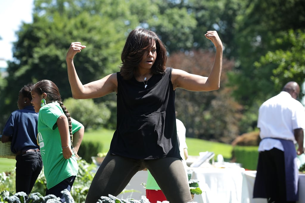 When She Styled a Loose Black Tank With Olive Pants at a Garden Harvest