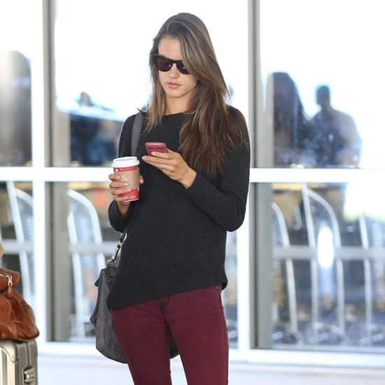 Alessandra Ambrosio Wearing Dark Red Skinny Jeans