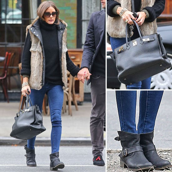 Olivia Palermo Wearing Fur Vest in NYC