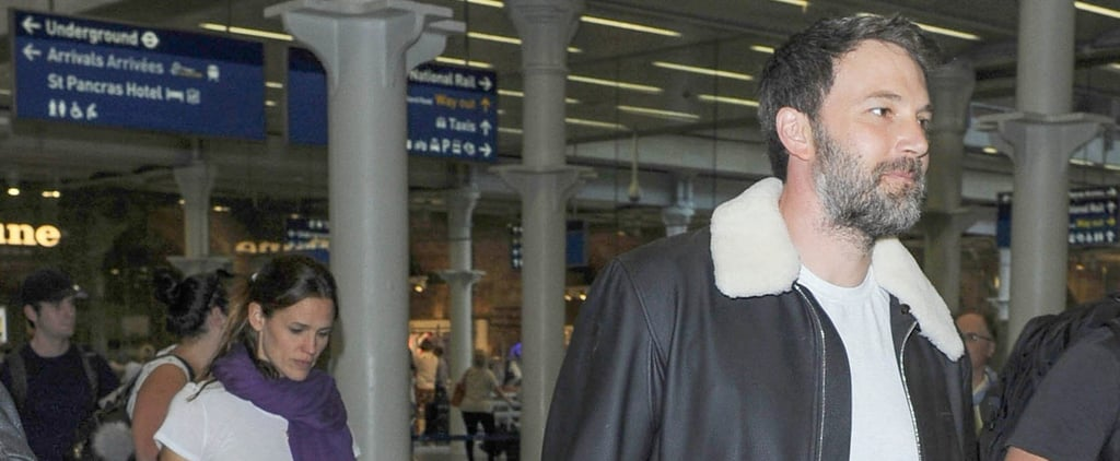Ben Affleck Sports a Smile While Making His Way Through the Train Station With Jennifer Garner