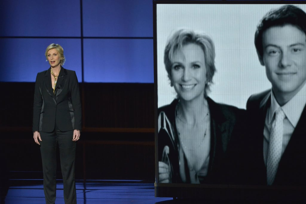 Jane Lynch gave a touching tribute to Glee's Cory Monteith in 2013.