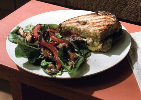 Eggplant Panini With Spinach Salad Recipe