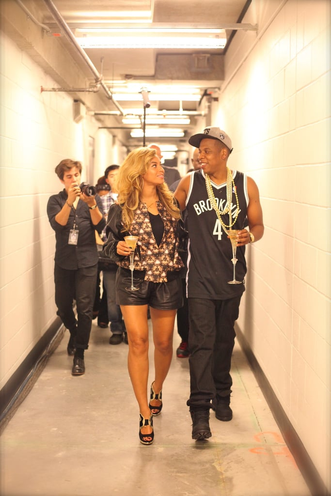 She and Jay Z celebrated with Champagne after his very first concert at Brooklyn's Barclays Center in September 2012. Source: Tumblr user Beyoncé
