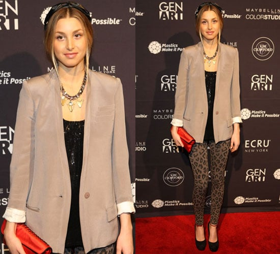 Whitney Port in Leopard Print Leggings at Gen Art's The New Garde Fashion Presentation in NYC