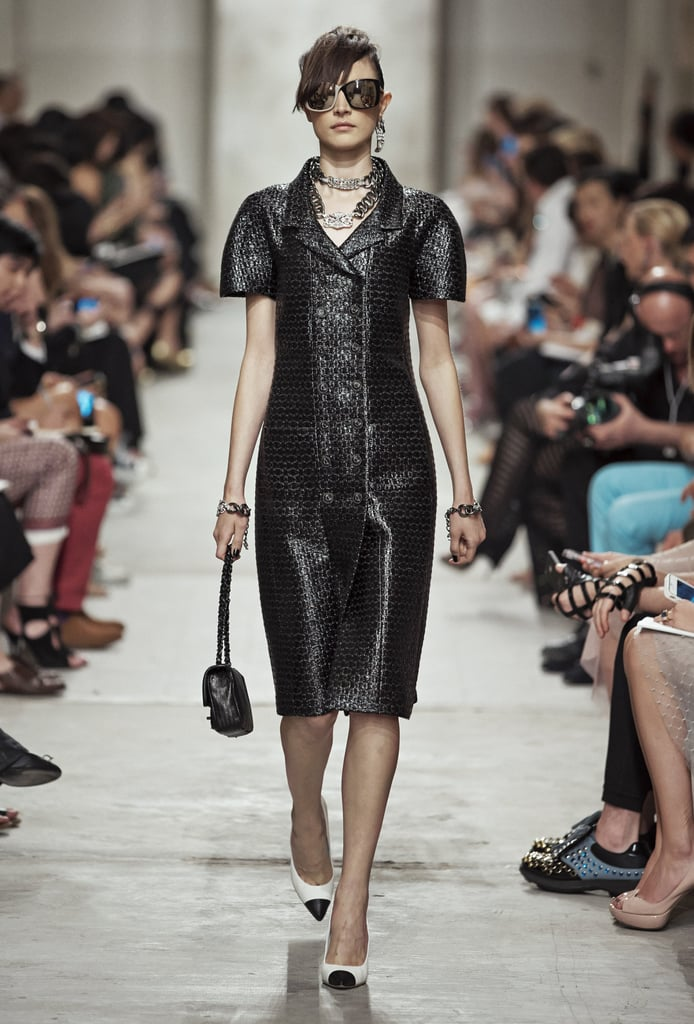 Sculpted shoulders sent out a powerful message (ditto for the oversize shades). Source: Chanel