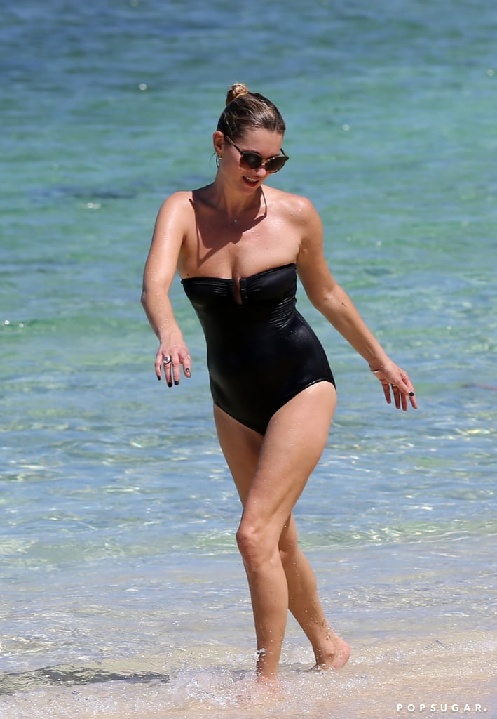 Kate Moss exited the water.