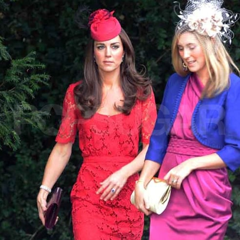 Kate Middleton, Duchess of Cambridge, in a fascinator on her way to a wedding with a friend.