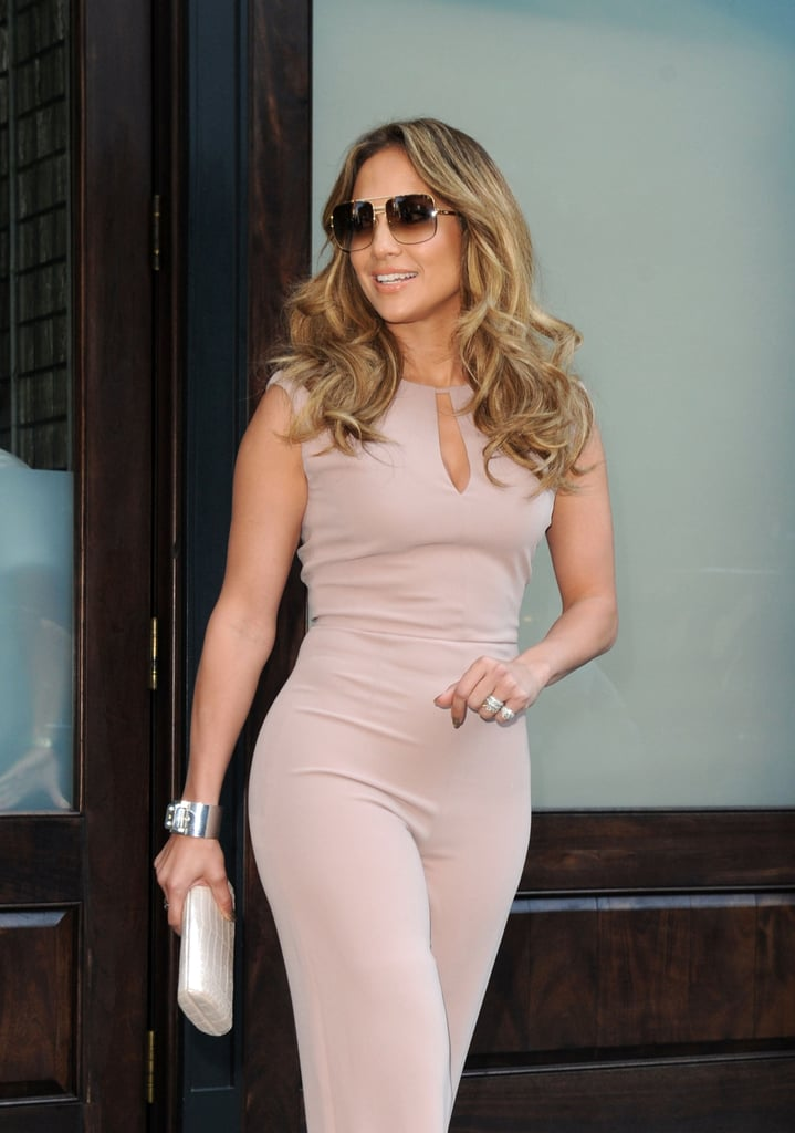 Jennifer Lopez was dressed in a jumpsuit leaving her hotel in NYC.