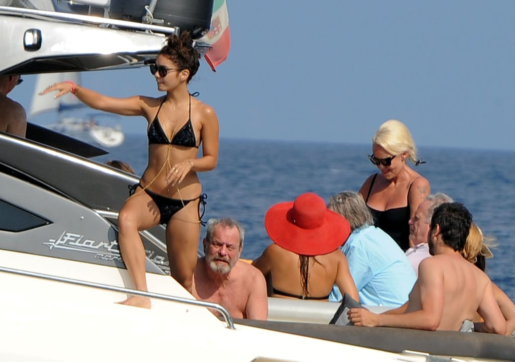Vanessa Hudgens hung out on a boat with director Eli Roth.