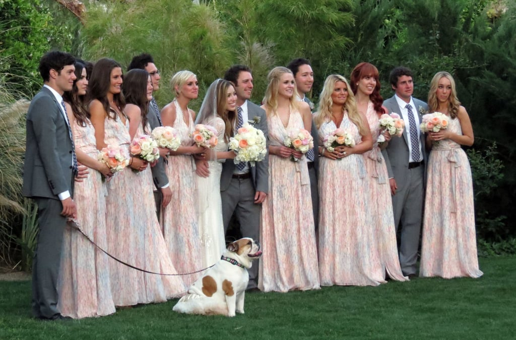 Adam Brody and Jessica Simpson played a part in their friend Lauren Zelman's wedding to Bret Harrison in Palm Springs, CA in March 2012.