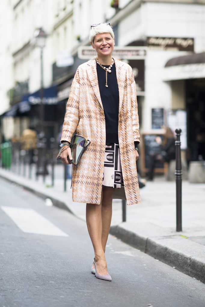 Elisa Nalin mixed prints with polish — and just a touch of whimsical add-ons. Source: Le 21ème | Adam Katz Sinding