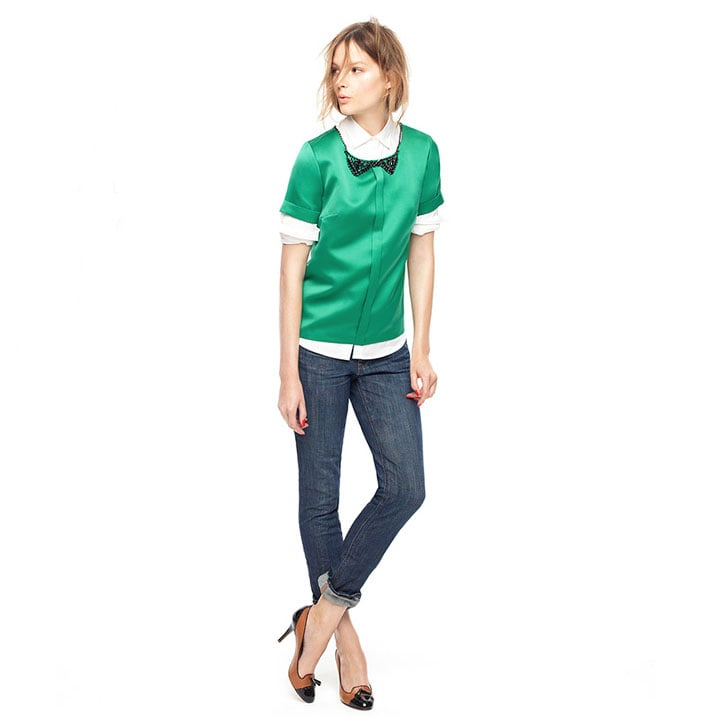 Make use of your dressy wares weeklong, by layering up a glossy, satin top over your staple white button-down and jeans.