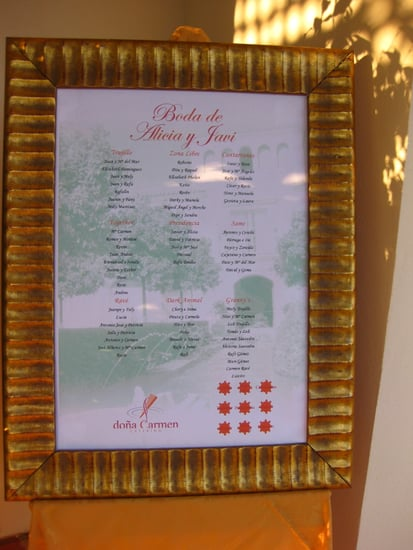 Each table was named after a different aspect of the couple's life.