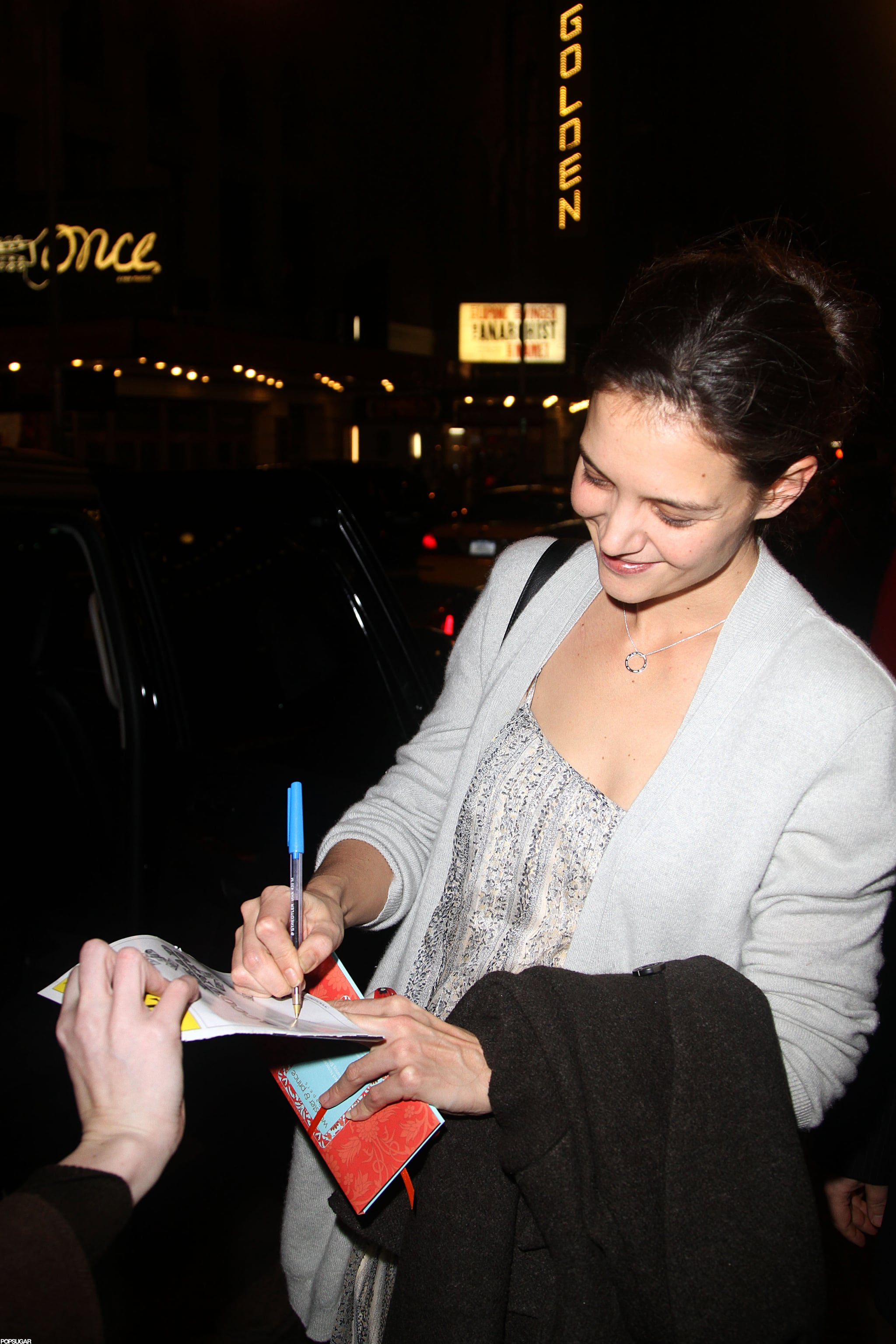Katie Holmes greeted fans on the way out of her Broadway show.