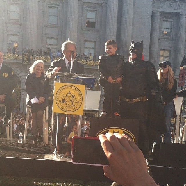 Batkid took the stage, receiving a key to the city. Source: Instagram user theexplodingkind