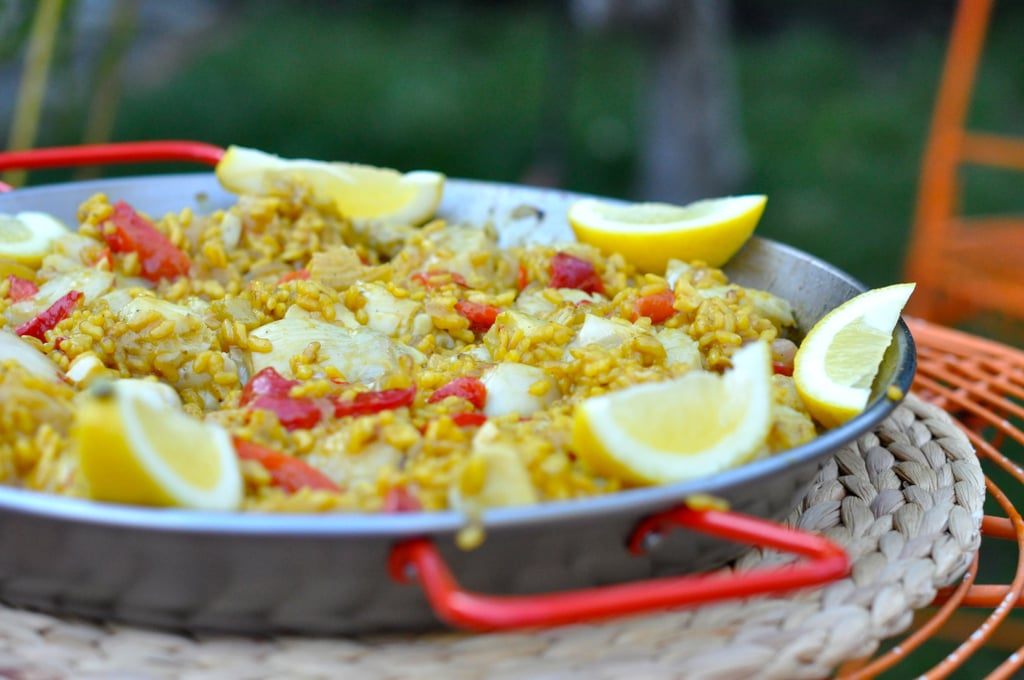 Paella with Sea Scallops, Artichoke Hearts, Roasted Bell Pepper and Green Chiles