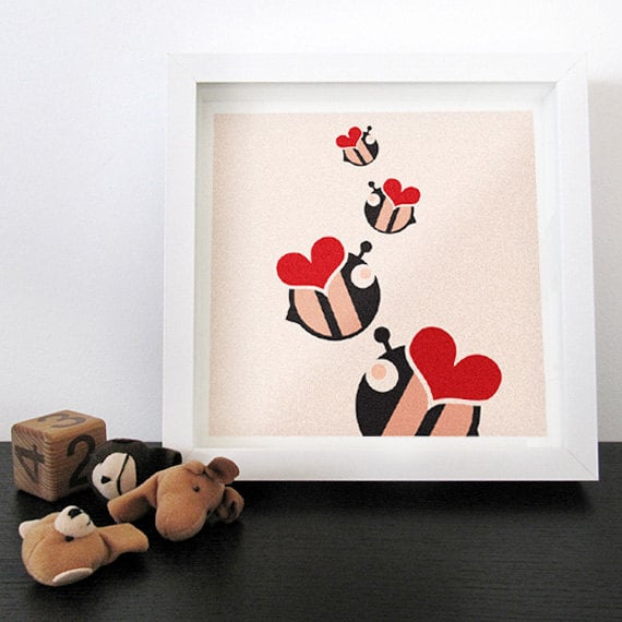 For a playful touch, try this fun love bees print ($20).