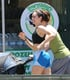 Emmy Rossum looked ready for a workout while filming scenes for Shameless in LA on Friday.