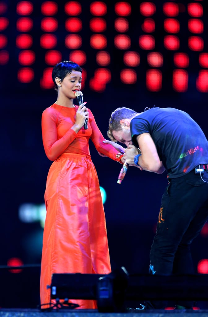 Rihanna and Chris Martin performed together at the Paralympics in London.
