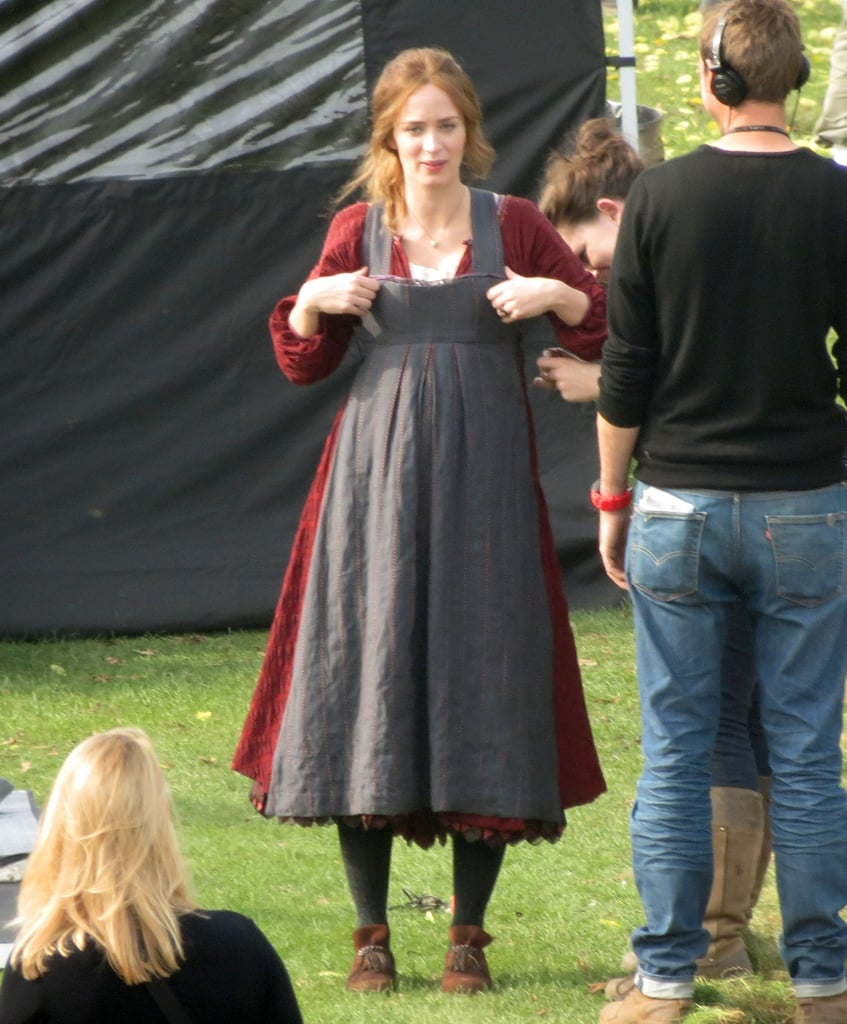 Pregnant Emily Blunt filmed Into the Woods in the UK.