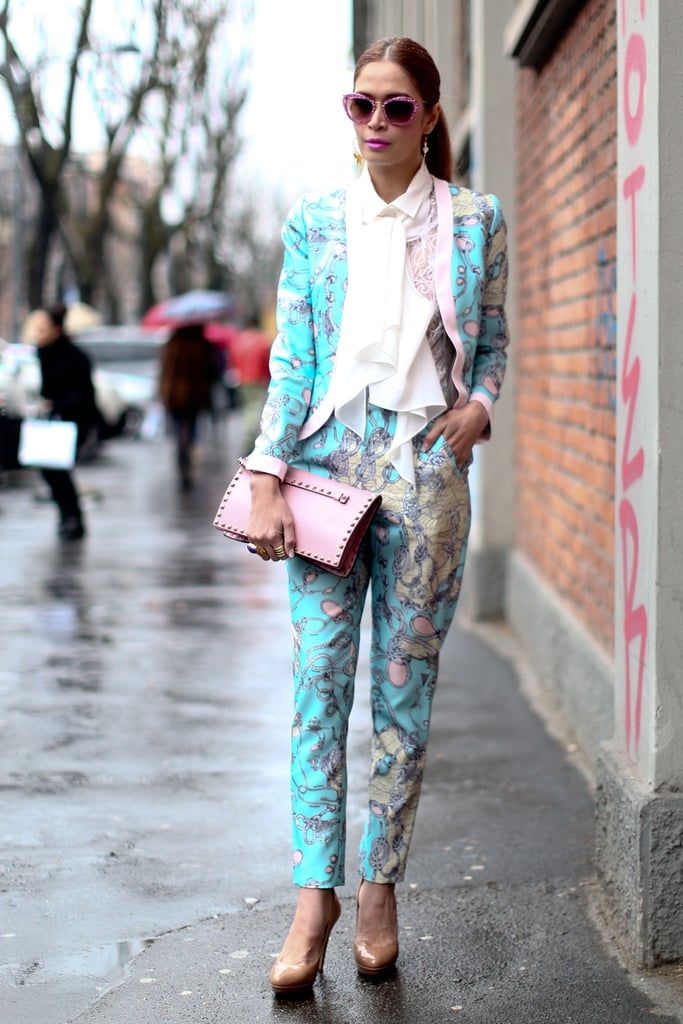 A Spring-printed finished with pretty, whimsical accents like her glittered Miu Miu shades.