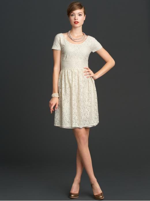 Pair this girly lace dress with chunky-heeled brown lace-up oxfords a worn leather backpack for a coffee date.  Mad Men Collection Lace Dress ($130)