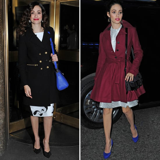 Emmy Rossum Wearing Burgundy Coat
