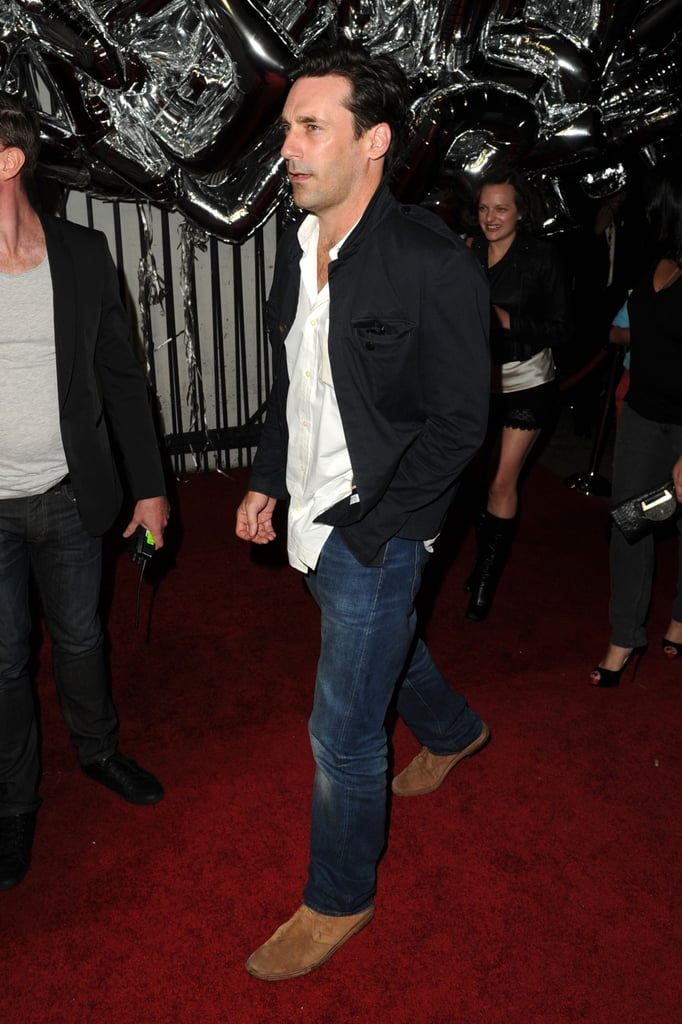 Jon Hamm arrived at the party.