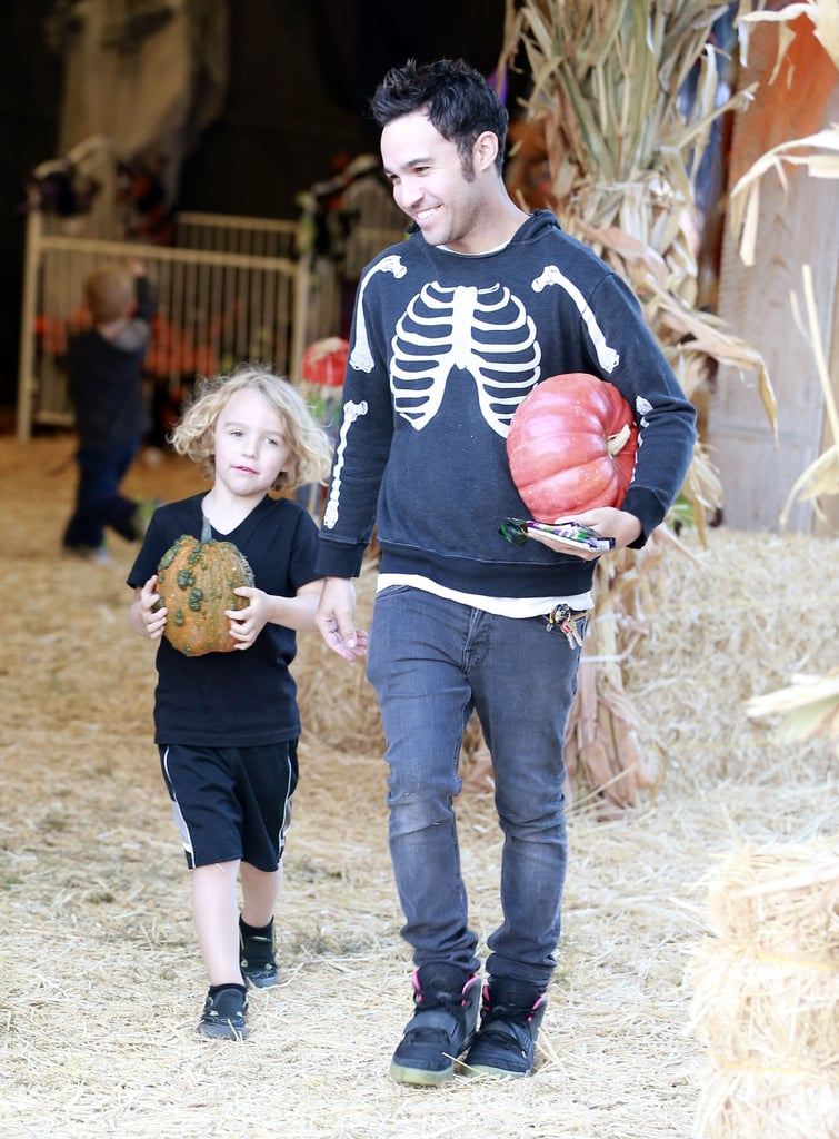 Pete Wentz and his son, Bronx, went to the Mr. Bones Pumpkin Patch in LA.