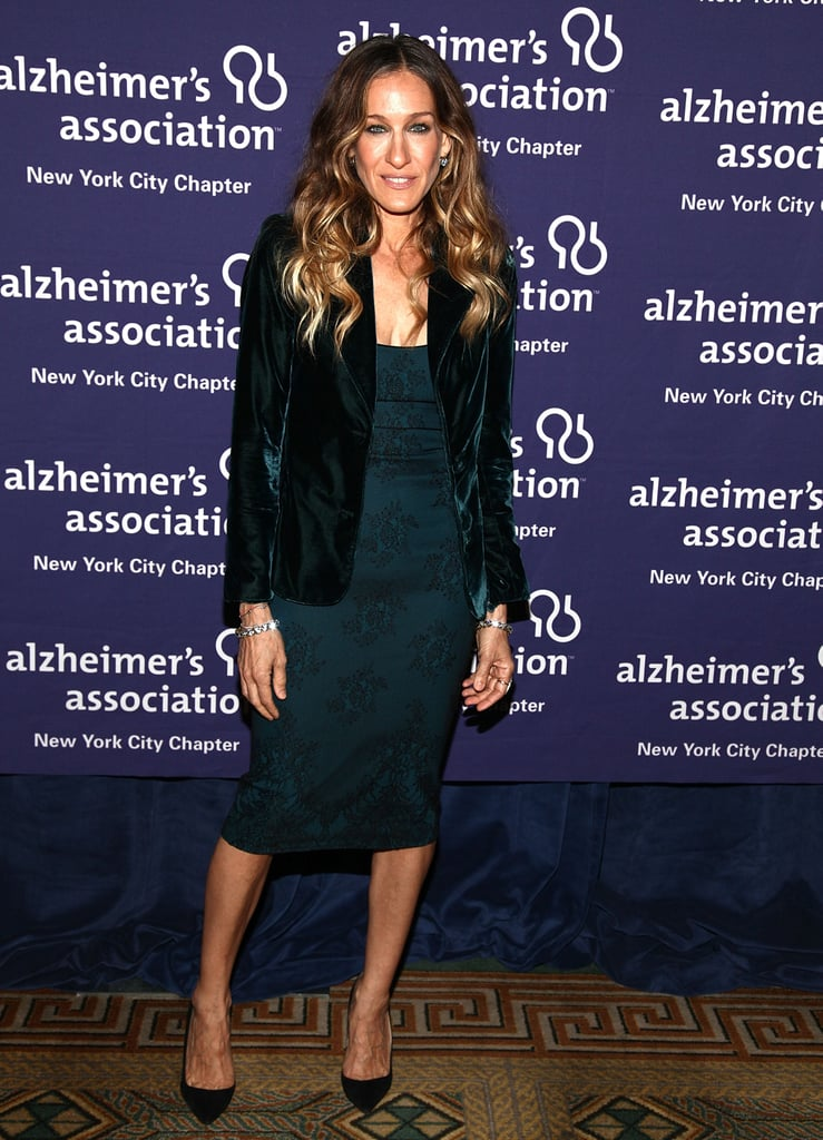 SJP layered a velvet emerald blazer over her embroidered L'Wren Scott sheath dress, then slipped on a pair of black Manolo Blahnik pumps and Fred Leighton jewels in June 2012.