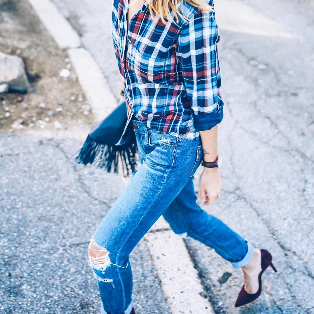 Jeans, Plaid, and Heels