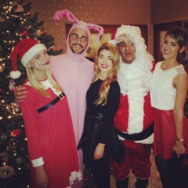 Jessica Alba shared a hilarious family Christmas photo, complete with Santa Claus and a reference to A Christmas Story. Source: Instagram user jessicaalba