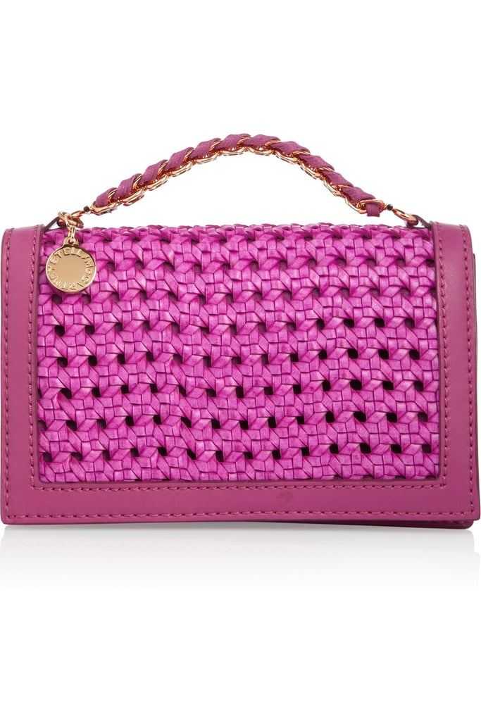 Add a pop of statement color and a touch of the season's must-have woven textures to everything from your cocktail frocks to breezy printed pants.  Stella McCartney Woven Faux Leather Clutch ($825)