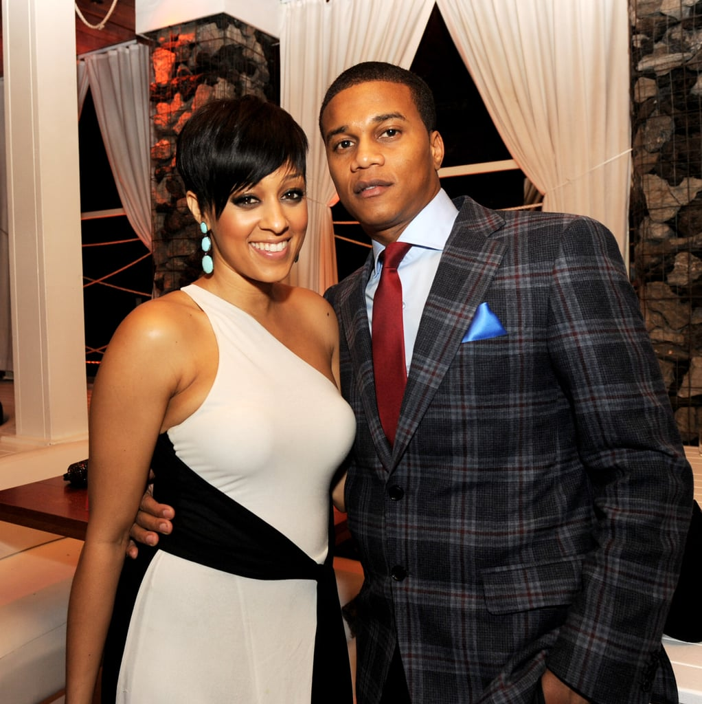 Tia Mowry and Cory Hardrict happily chatted at the premiere.