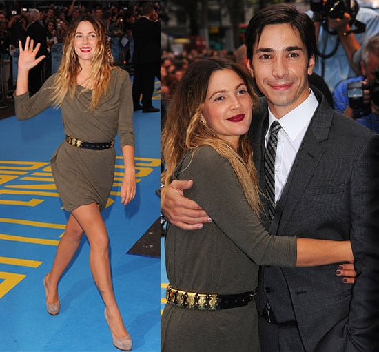 Pictures of Drew Barrymore in Olive Green Dress